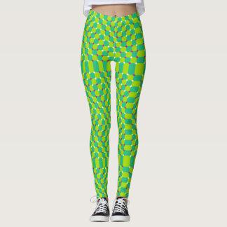 Cooles grünes optische Illusions-Muster Leggings