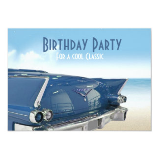 Cooles klassisches Auto-60. Geburtstags-Party 12,7 X 17,8 Cm Einladungskarte