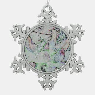 Cooles künstlerisches zeitgenössisches abstraktes schneeflocken Zinn-Ornament