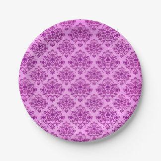 Cooles lila Schädel-Damast-Tapeten-Muster Pappteller