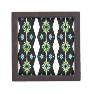 Cooles modernes Schwarz-weißes aquamarines Muster Schmuckkiste