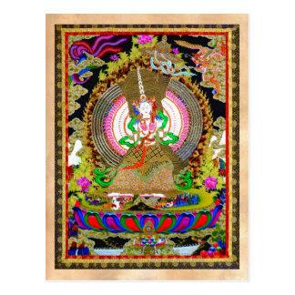 Cooles orientalisches tibetanisches thangka Usnisa Postkarte