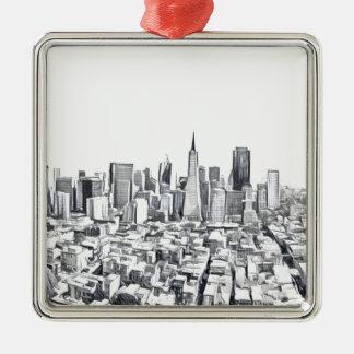 Cooles San Francisco SF Citiscape Silbernes Ornament
