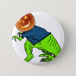 Cooles T-Rex mit einem Kürbislaterne-Kopf Runder Button 5,7 Cm
