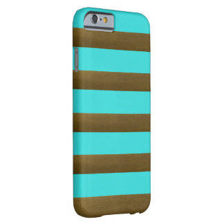 Cooles Türkis-Kupfer Striped Barely There iPhone 6 Hülle