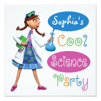 Cooles Wissenschafts-Geburtstags-Party für Mädchen Quadratische 13,3 Cm Einladungskarte