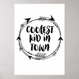 Coolstes Kind im Stadtdruck-Schwarzweiss-Dekor Poster