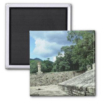 Copan Stadt-altes Mayaruine-Foto entworfen Quadratischer Magnet