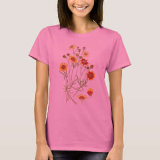 Coreopsis-Blumen-botanische mit Blumenspitze T-Shirt