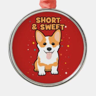 Corgi-- kurzer und süß, niedlicher HundeCartoon, Silbernes Ornament
