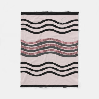 Cosy abstrakte mit Monogramm Wellen erröten rosa Fleecedecke