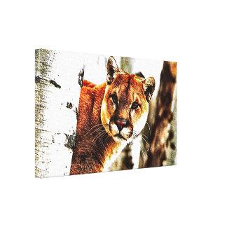 Cougar-Leinwand-Wand-Kunst-Druck Leinwanddruck