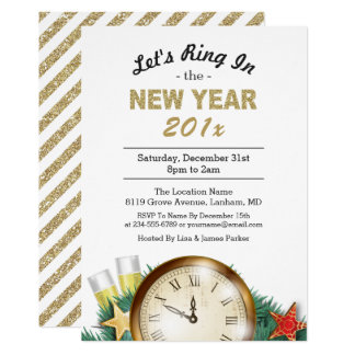 Count-down-Uhr-Ring im Silvester-Party Karte