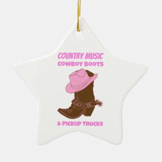 Countrymusik-Cowboystiefel-Lieferwagen-LKWs Keramik Ornament