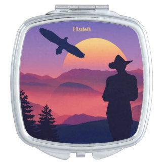 Cowboy Eagle und aufgehende Sonne-wilder Westen Taschenspiegel