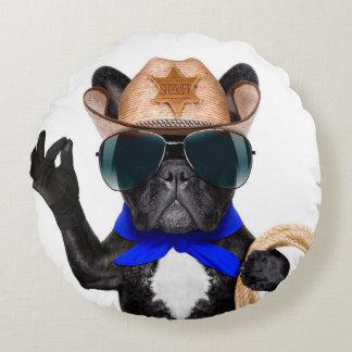 Cowboy-Mops - Hundecowboy Rundes Kissen