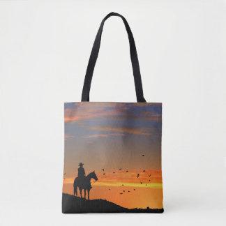 Cowboy-und Sonnenuntergang-Taschen-Tasche
