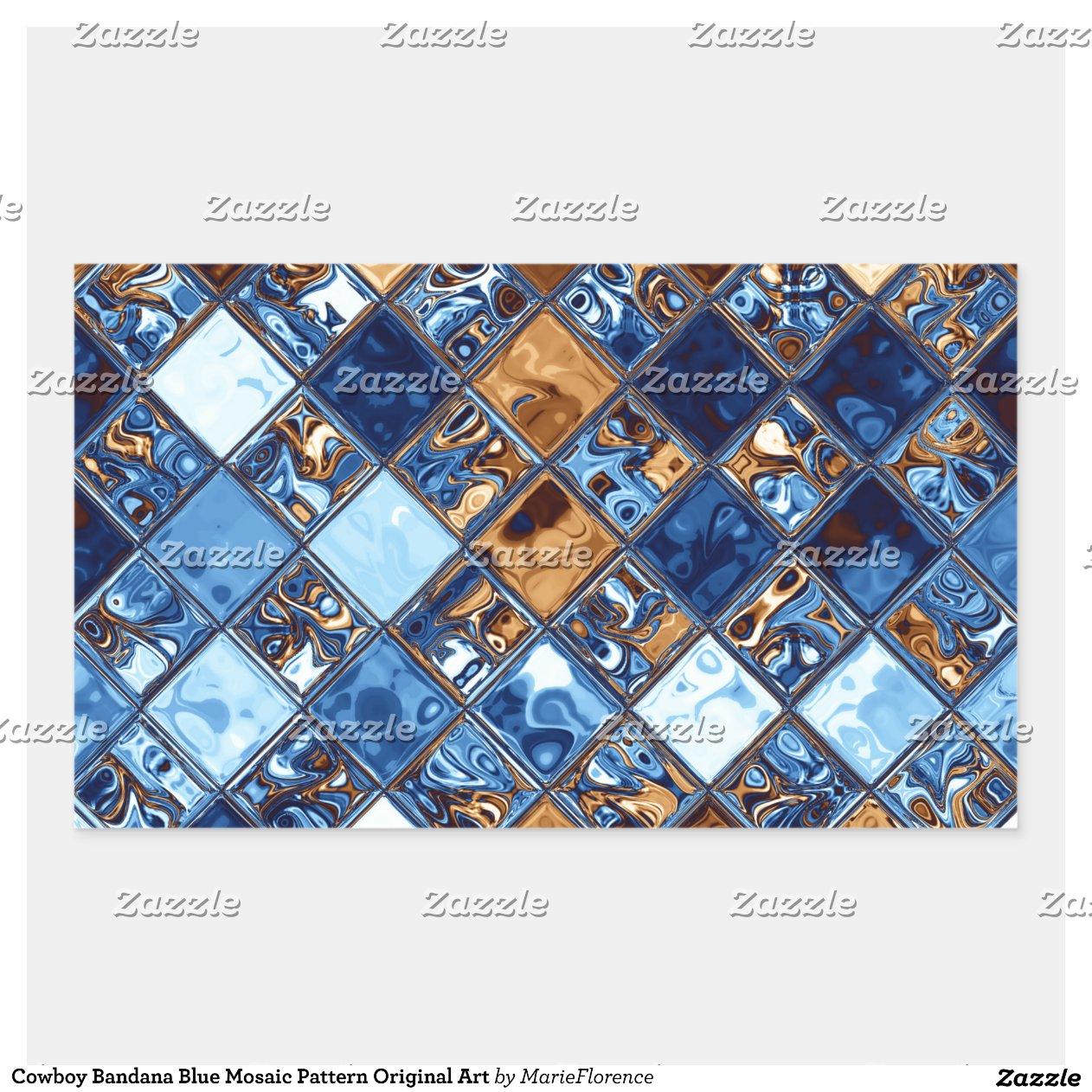 cowboybandana blaue mosaik muster vorlagen kunst. Black Bedroom Furniture Sets. Home Design Ideas
