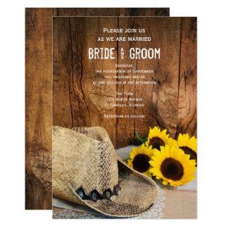 Cowboyhut, Sonnenblume-Scheunen-hölzerne Karte