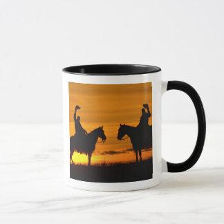 Cowboys auf Kante am Sonnenuntergang Tasse