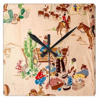 Cowboys - Vintage Tapete - wilder Westen Quadratische Wanduhr