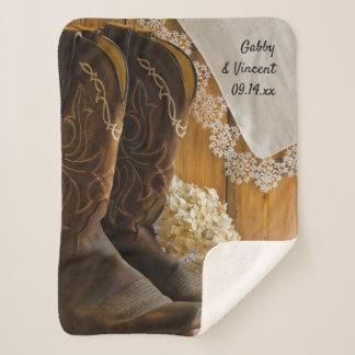 Cowboystiefel und Spitze-Land-Hochzeits-Andenken Sherpadecke