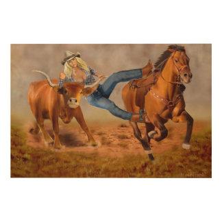 Cowgirl-Ochse-Wrestling Holzleinwand
