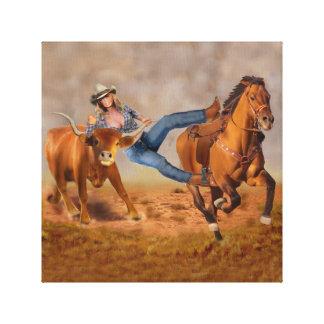 Cowgirl-Ochse-Wrestling Leinwanddruck
