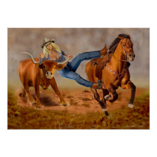 Cowgirl-Ochse-Wrestling Poster
