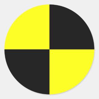 Crashtestattrappensymbolzeichen-Autounfall Runder Aufkleber