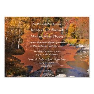 Creekside Holz Ahornblatt Herbsthochzeit Einladung