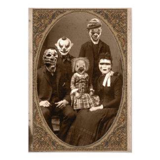 Creepy Clown-Familien-Halloween-Party 12,7 X 17,8 Cm Einladungskarte