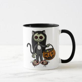 Creepy Katzen-Mädchen-Tasse Tasse