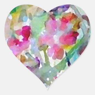 CricketDiane Blumen-GartenWatercolor abstrakt Herz-Aufkleber