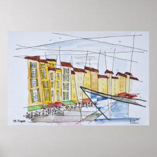 Cubist abstraktes   Heiliges-Tropez, französisches Poster