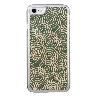 Cyan-blaue hölzerne Ikat Deckung kreist Carved iPhone 8/7 Hülle