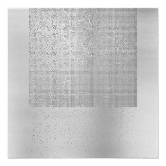 Cyber-binärer Minimalismus-einfarbiges silbernes Poster