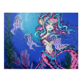 Cyber Goth Meerjungfrau-Qualle-Fantasie-Postkarte Postkarte