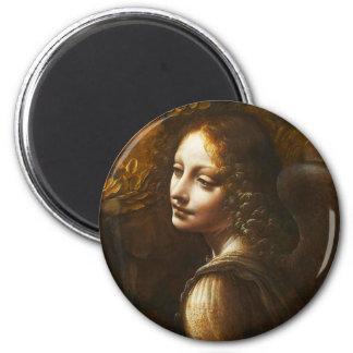 Da- VinciJungfrau des Felsen-Engels-Magneten Runder Magnet 5,7 Cm