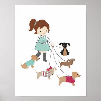 Dackel-Kinderzimmer-Wand-Kunst Poster
