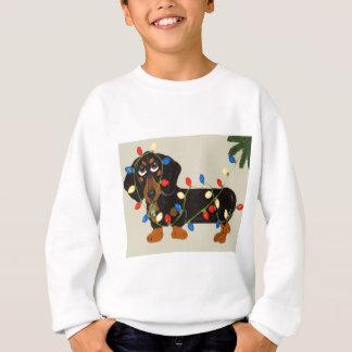 Dackel verwirrte in Weihnachtslicht-Schwarzem/in Sweatshirt