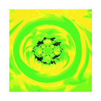 Dahlie abstrakt, grün, Gelb Galerie Falt Leinwand