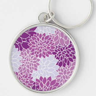 Dahlie-Blumen, Blumenblätter, Blüten - blaues Lila Schlüsselanhänger
