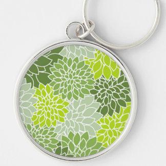 Dahlie-Blumen, Blumenblätter, Blüten - grünes Weiß Schlüsselanhänger