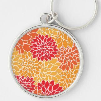 Dahlie-Blumen, Blumenblätter, Blüten - orange Rot Schlüsselanhänger