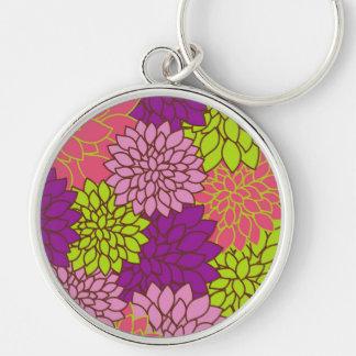 Dahlie-Blumen, Blüten - rosa lila Grün Schlüsselanhänger