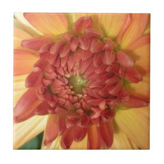 Dahlie: Gelb und Lachse --- Kleine Quadratische Fliese
