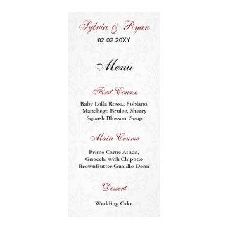Damask Wedding Menus Full Color Rack Card