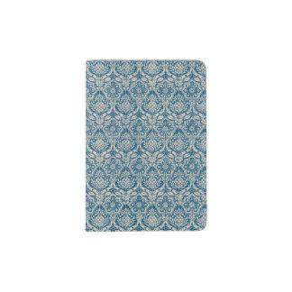 Damast-aquamarines blaues Muster Passhülle