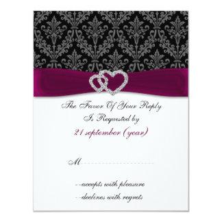 Damast diamante Rosa-Hochzeit UAWG Personalisierte Ankündigungskarte